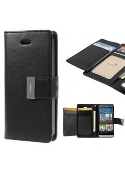 Korean Mercury Rich Diary Double Wallet Case for HTC one M9 - Black