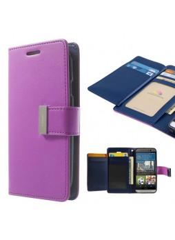 Korean Mercury Rich Diary Double Wallet Case for HTC one M9 - Purple