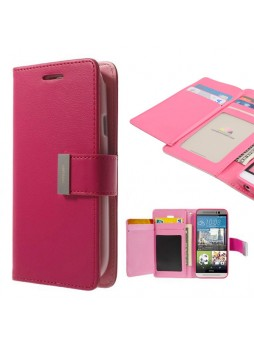 Korean Mercury Rich Diary Double Wallet Case for HTC one M9 - Hot Pink