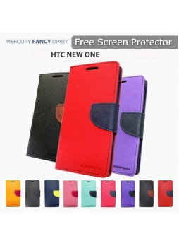 Korean Mercury Fancy Dairy Wallet Case For HTC One M10 - Navy Blue
