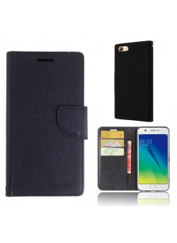 Mooncase Stand Wallet Case For Oppo A57 - Black