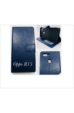 Wallet Case For oppo  R15 Navy blue