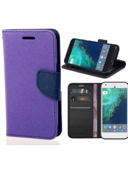 Mooncase Stand Wallet Case For Telstra Google Pixel - Purple
