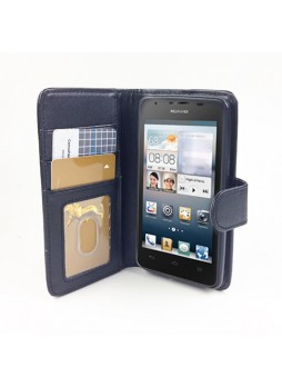 Synthetic Leather Wallet Case for Huawei Ascend G510 - Black