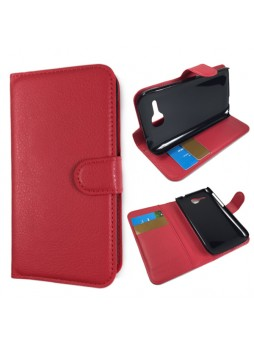 Litchi Skin Wallet Case Cover for Huawei Ascend Y600 - Red