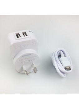 Safety Approval Travel Adapter Charger with Dual USB Output - White