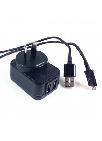 Safety Approval Travel Adapter Charger with Dual USB Output - Black