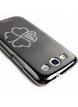 Glaze Diamond Flower Back Case for Samsung Galaxy S3 i9300 - Silver