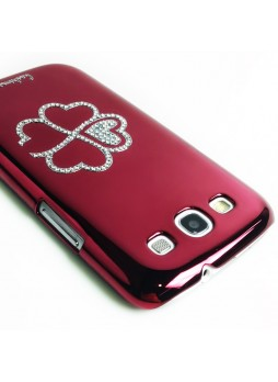 Glaze Diamond Flower Back Case for Samsung Galaxy S3 i9300 - Red