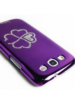 Glaze Diamond Flower Back Case for Samsung Galaxy S3 i9300 - Purple