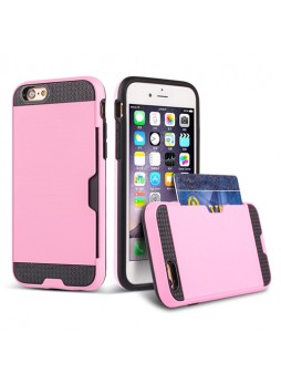 Rugged Shockproof Tough Back Case With Side Card Slot For iPhone 6/6s Plus - Light Pink