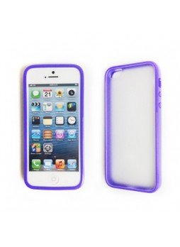 Dual Design TPU   PC Back Case for iPhone 5 / 5S - Purple