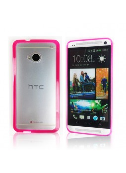 TPU   PC Case for HTC One M7 - Hot Pink