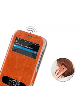 MOFI Leather Stand Flip Cover for Huawei Ascend Y600 - Brown