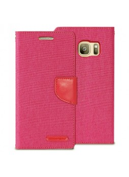 Korean Mercury Canvas Diary Wallet Case For Samsung Galaxy S7 Edge - Hot Pink