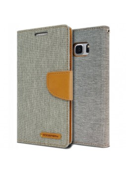 Korean Mercury Canvas Diary Wallet Case For Samsung Galaxy Note 7 -  Grey