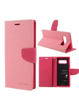 Korean Mercury Fancy Diary Wallet Case For Samsung Galaxy Note 8 - Light Pink