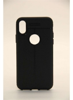 TPU PU Leather Back Case For iPhone X - Black