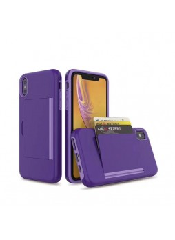 Soft Feeling Hard  Heavy Duty Case With Card Holder For iPhone XS MAX  6.5'  Purple