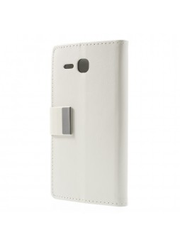 Magnetic Wallet Case Cover for Huawei Ascend Y600 - White