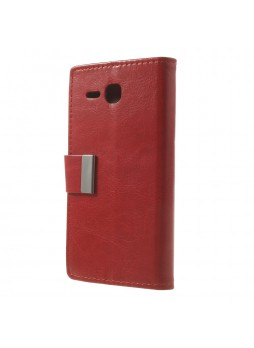 Magnetic Wallet Case Cover for Huawei Ascend Y600 - Red