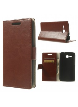 Magnetic Wallet Case Cover for Huawei Ascend Y600 - Brown